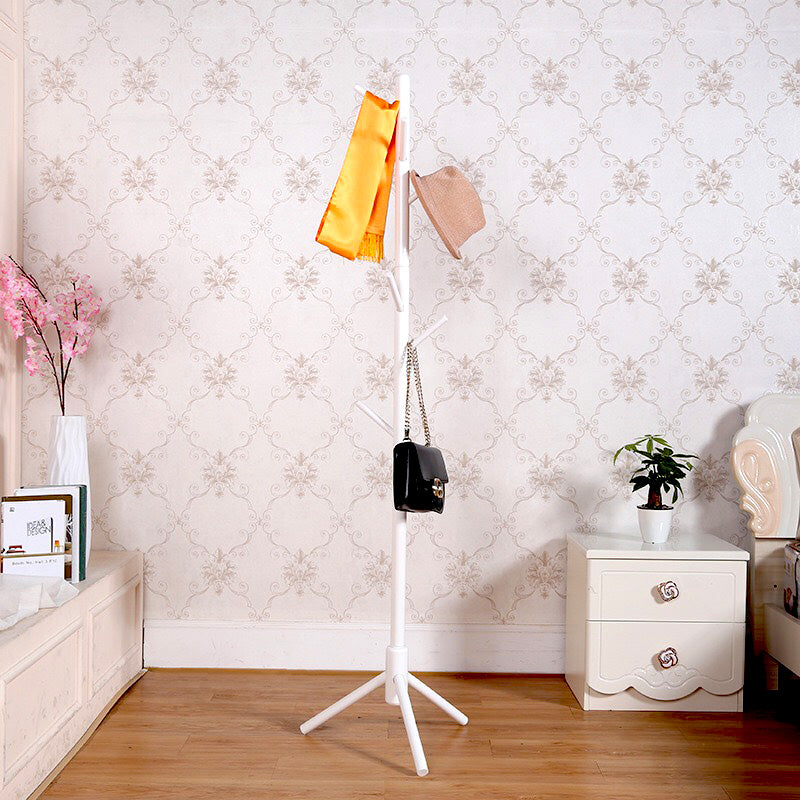 White Wooden Coat Stand Rack Clothes Hanger Hat Tree Vintage Jacket Bag Umbrella