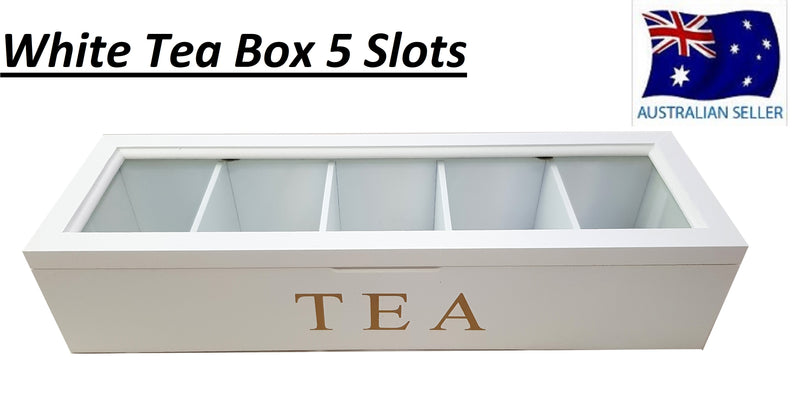 WHITE WOODEN TEA BOX CONTAINER GLASS LID 5 DIVISIONS HOLDS 50 BAGS HW324
