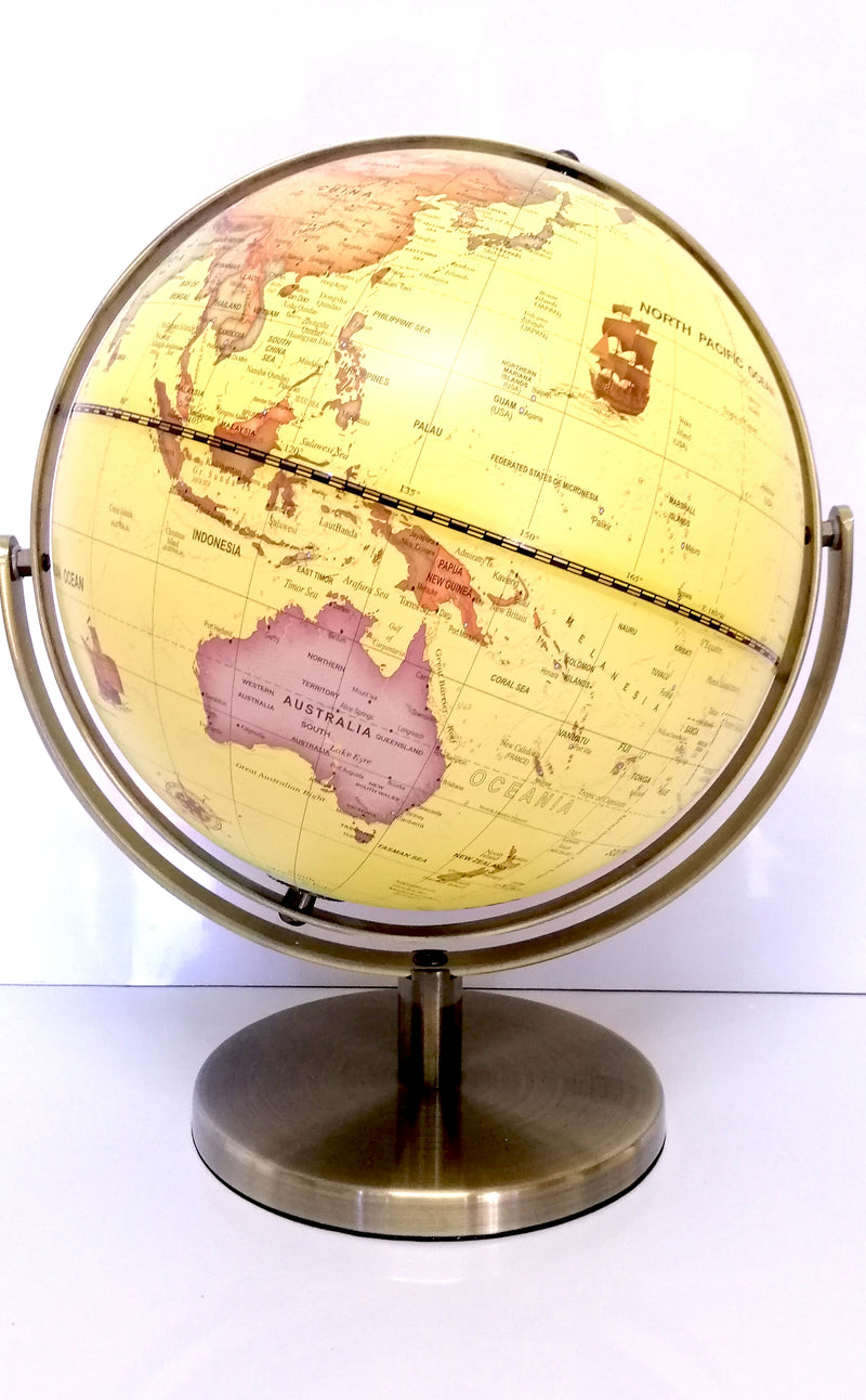 VINTAGE HIGH QUALITY YELLOW WORLD GLOBE DOUBLE AXEL WITH BRASS BASE HOME 25cm