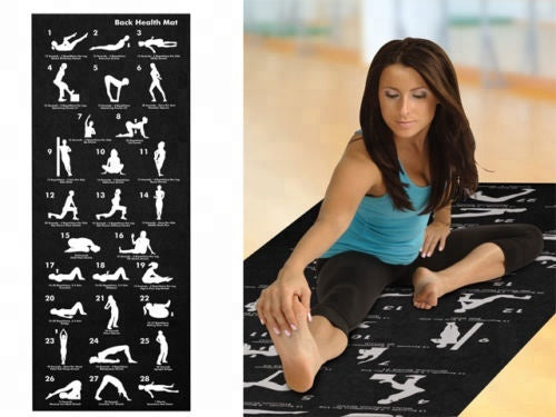 Back Health Yoga Matt Fitness 28 Postions Displayed Non Slip Black