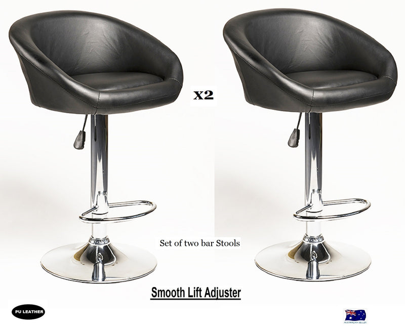 2X MODERN ELI BLACK BAR KITCHEN STOOLS PU LEATHER CUSHION ADUSTABLE GAS LIFT STREADY BASE