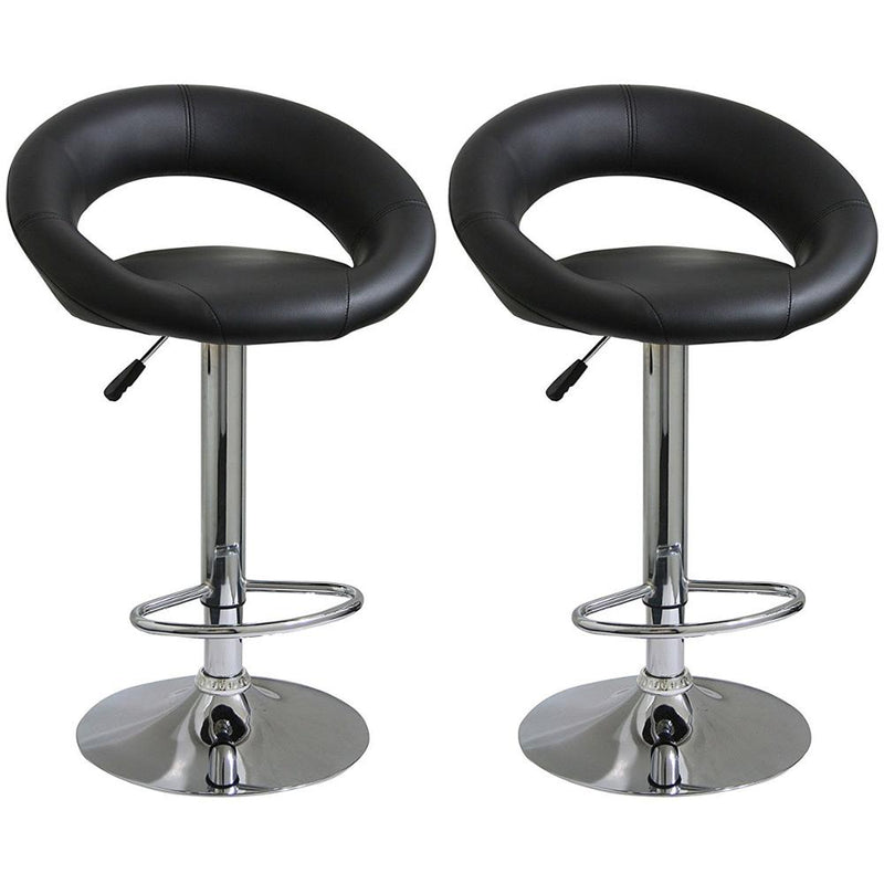 2X MODERN JOLLY BLACK BAR STOOLS KITCHEN PU LEATHER CUSHION ADUSTABLE GAS LIFT STREADY BASE
