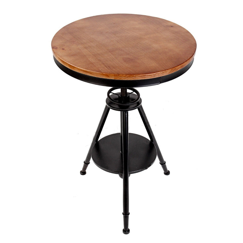 Round Ferrum Bar Table Retro Industrial Metal Bar Elm Wooden Café Restaurant
