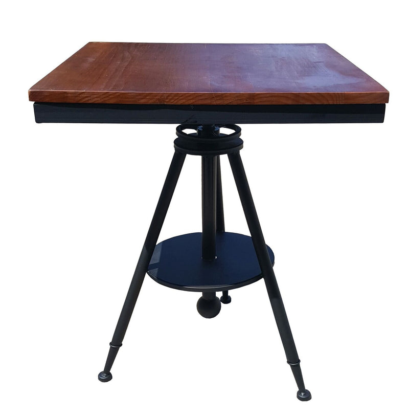 Square Ferrum Bar Table Retro Industrial Metal Bar Elm Wooden Café Restaurant