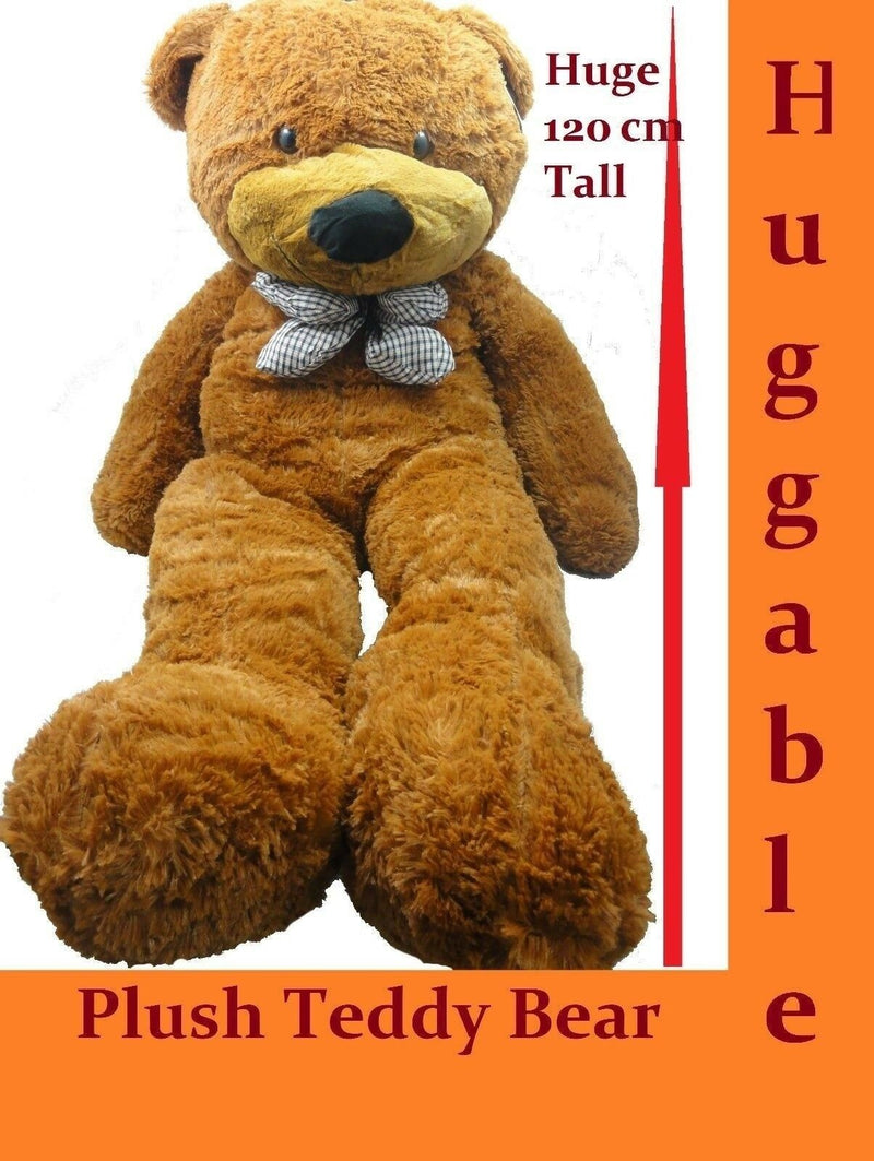 1.2M GIANT HUGE STUFFED TEDDY BEAR & BOW TIE HUGGABLE SOFT PLUSH DARK TAN NEW