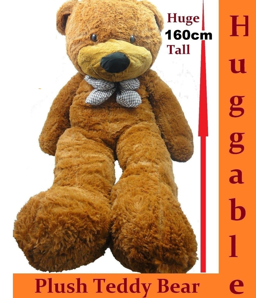 1.6M GIANT HUGE STUFFED TEDDY BEAR & BOW TIE HUGGABLE SOFT PLUSH DARK TAN NEW