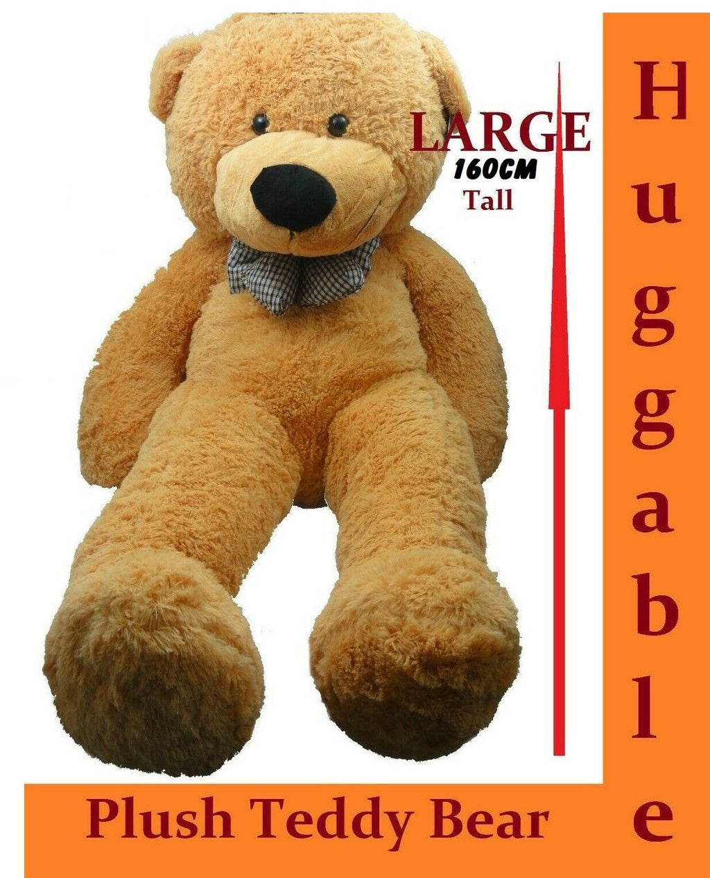 1.6.M GIANT HUGE STUFFED TEDDY BEAR & BOW TIE HUGGABLE SOFT PLUSH TAN NEW