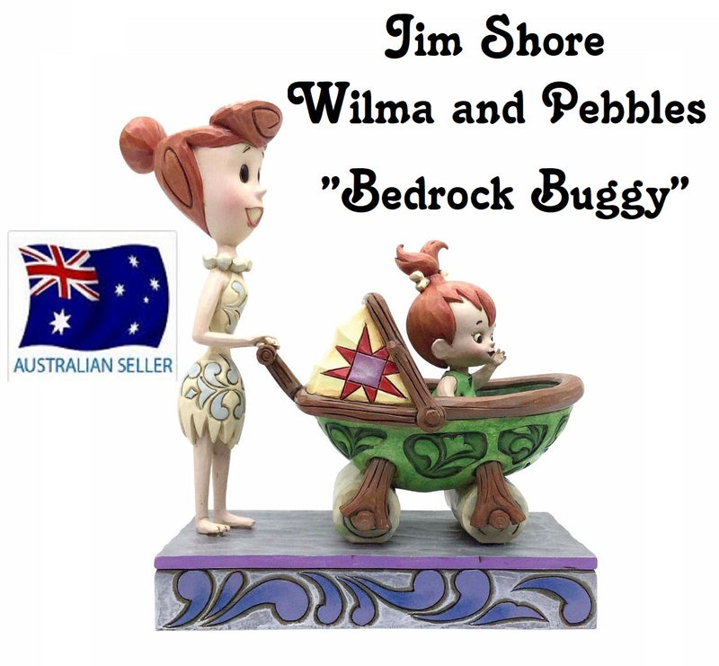JIM SHORE THE FLINTSTONES COLLECTION WILMA AND PEBBLES BEDROCK BUGGY 4058334