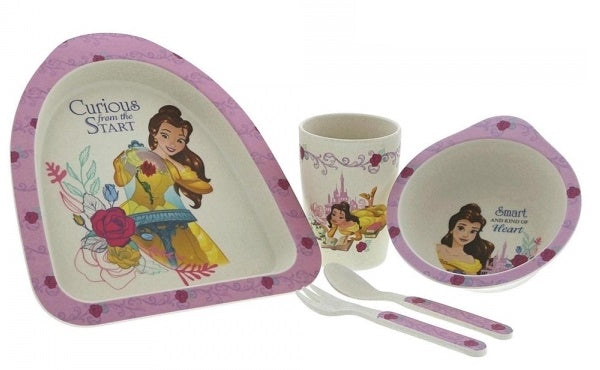 5 Piece Disney Enchanting Belle Organic Dinner Set Beauty And The Beast Eco Freindly