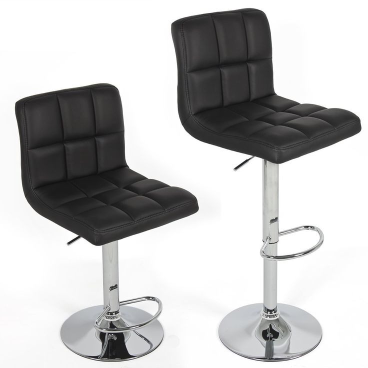 2X MODERN BLACK BAR KITCHEN STOOLS PU LEATHER CUSHION ADUSTABLE GAS LIFT STREADY BASE
