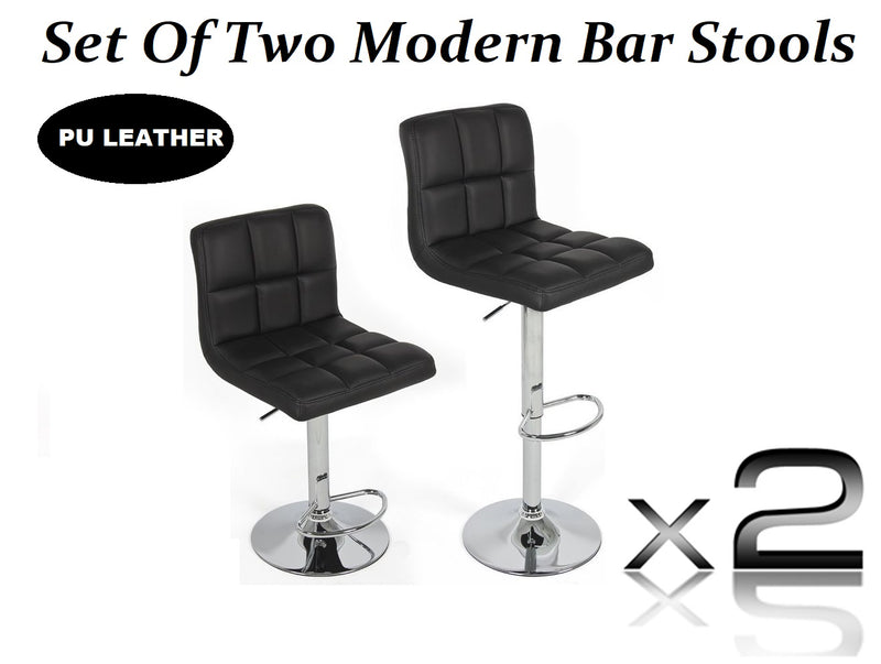 2X MODERN MYRA BLACK BAR KITCHEN STOOLS PU LEATHER CUSHION ADUSTABLE GAS LIFT STREADY BASE
