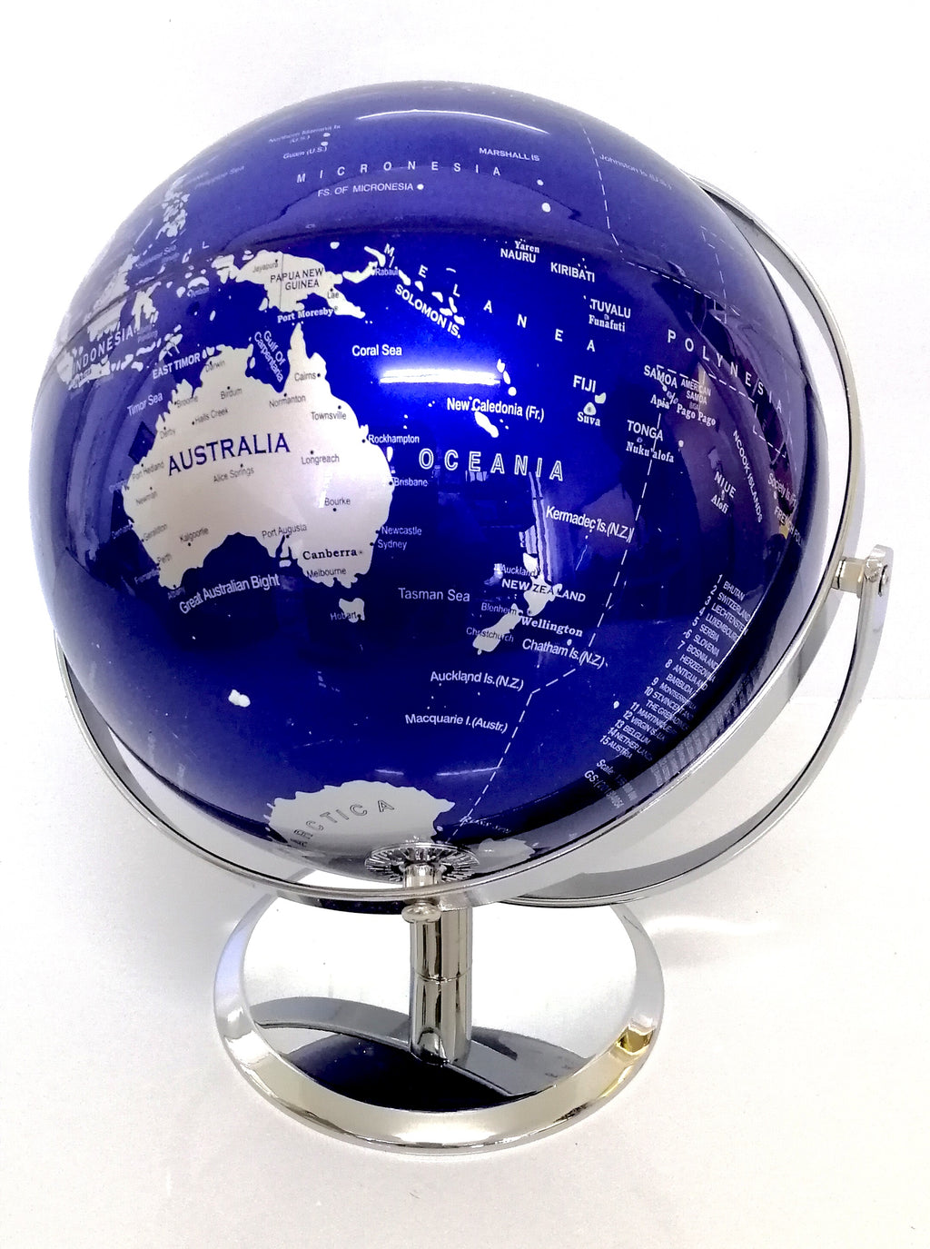 AMAZING HIGH QUALITY BLUE WORLD GLOBE DOUBLE AXEL WITH CHROME BASE HOME 25cm
