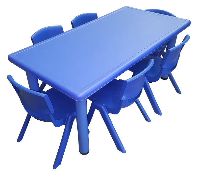 LARGE CHILDREN TODDLER KIDS ADJUSTABLE BLUE TABLE AND 6 BLUE CHAIRS 120cmX60cm