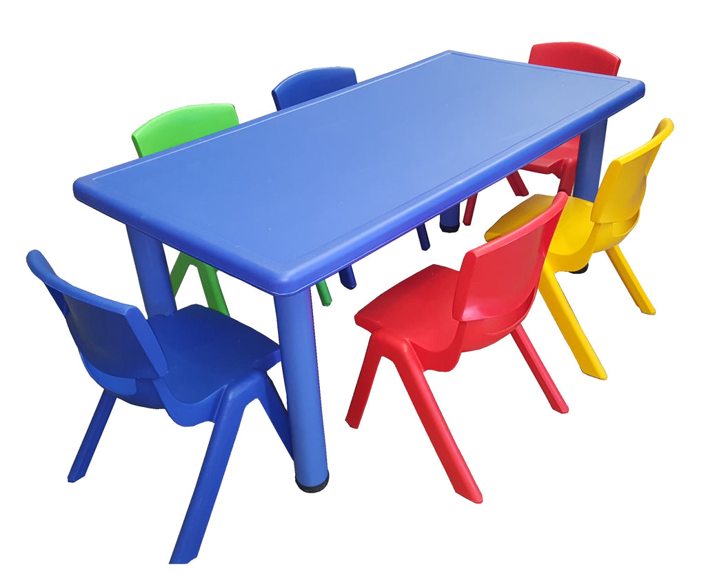LARGE CHILDREN TODDLER KIDS ADJUSTABLE BLUE TABLE AND 6 COLOURED CHAIRS 120cmX60cm