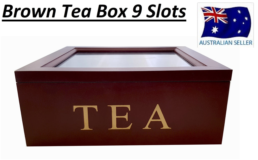 BROWN WOODEN TEA BOX CONTAINER GLASS LID 9 DIVISIONS HOLDS 90 BAGS HW325
