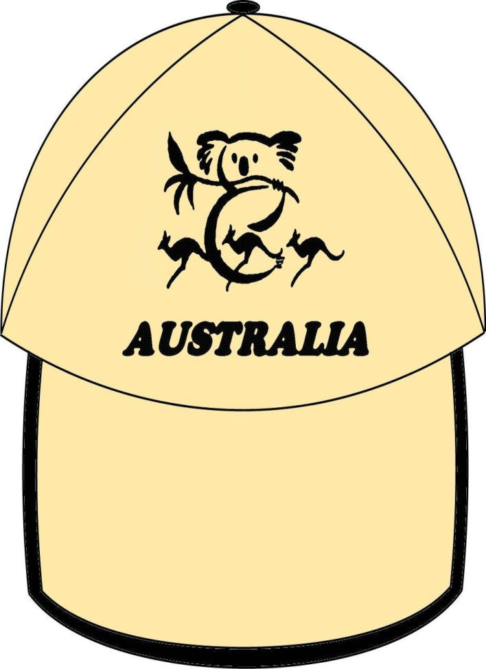 UNISEX MEN'S LADIES AUSTRALIAN SOUVENIR CAPS HATS EMBROIDERED BEIGH & BLACK KOALA & KANGAROO