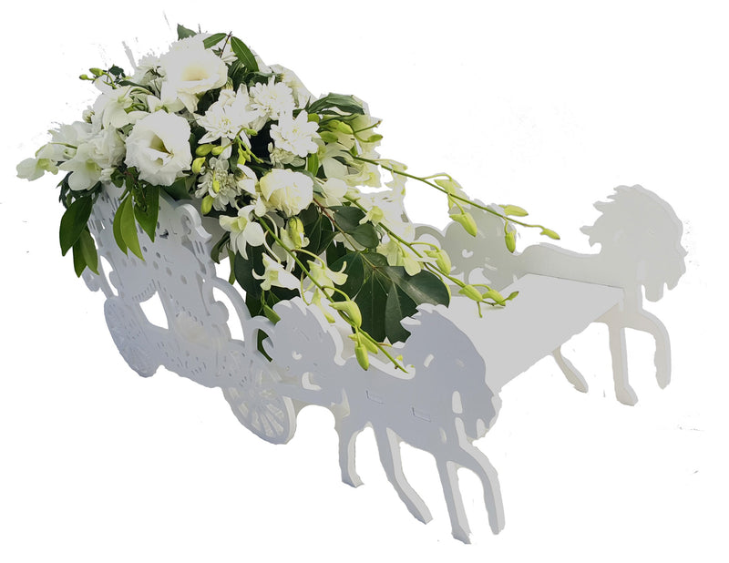 WHITE WOODEN HORSE AND CARRIAGE WEDDING CENTREPIECE HOME DECOR HORSE CART