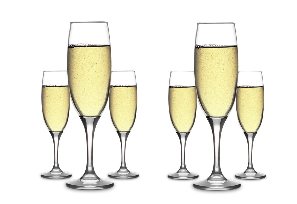 CLASSICA ART CRAFT CADEN SET OF SIX CHAMPAGNE FLUTES GLASSES 220ml