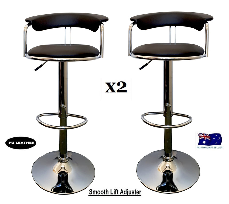 2X COMFORT DESIGN KITCHEN BAR STOOL MODERN PU LEATHER SEAT ADUSTABLE GAS BLACK