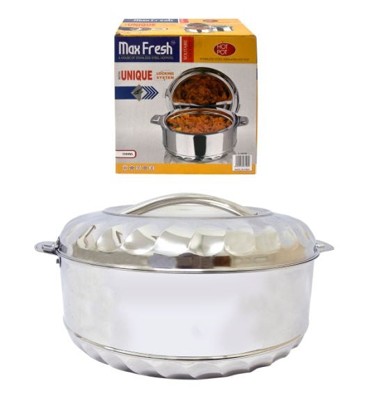 MAX FRESH STAINLESS STEEL 3.5 LITRE FOOD WARMER HOT POT WITH TWIST LOCK LID