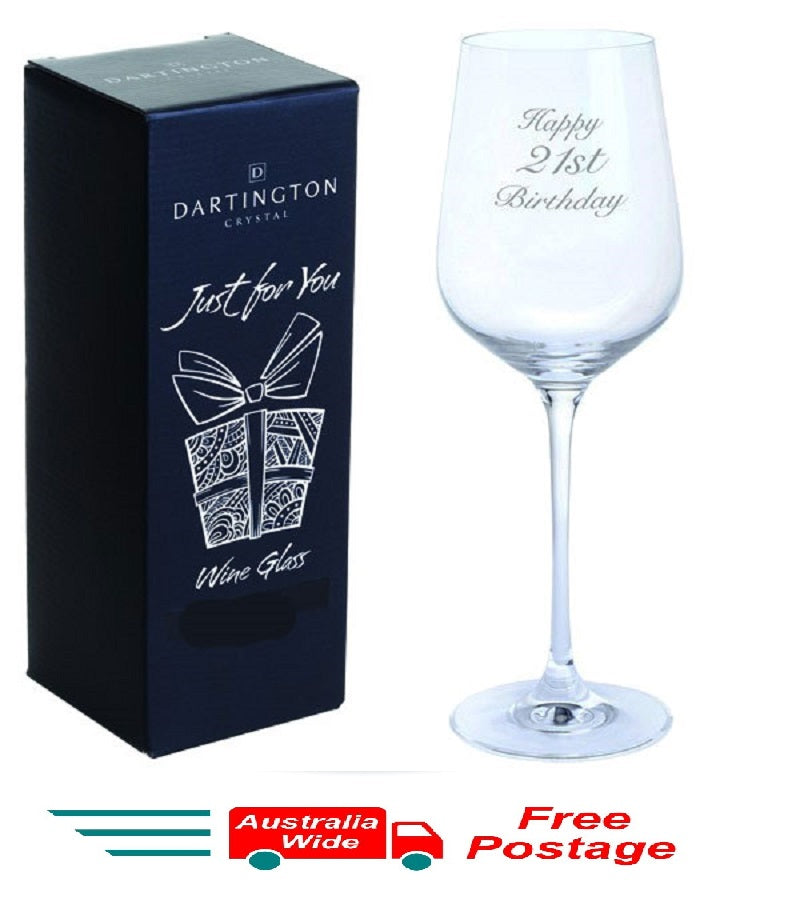 Dartington Crystal Just For You Happy 21st Birthday Engraved Wine Glass