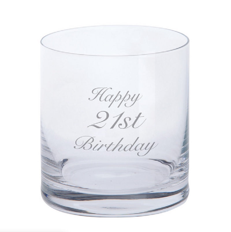 Dartington Crystal Just For You Happy 21st Birthday Engraved Tumbler