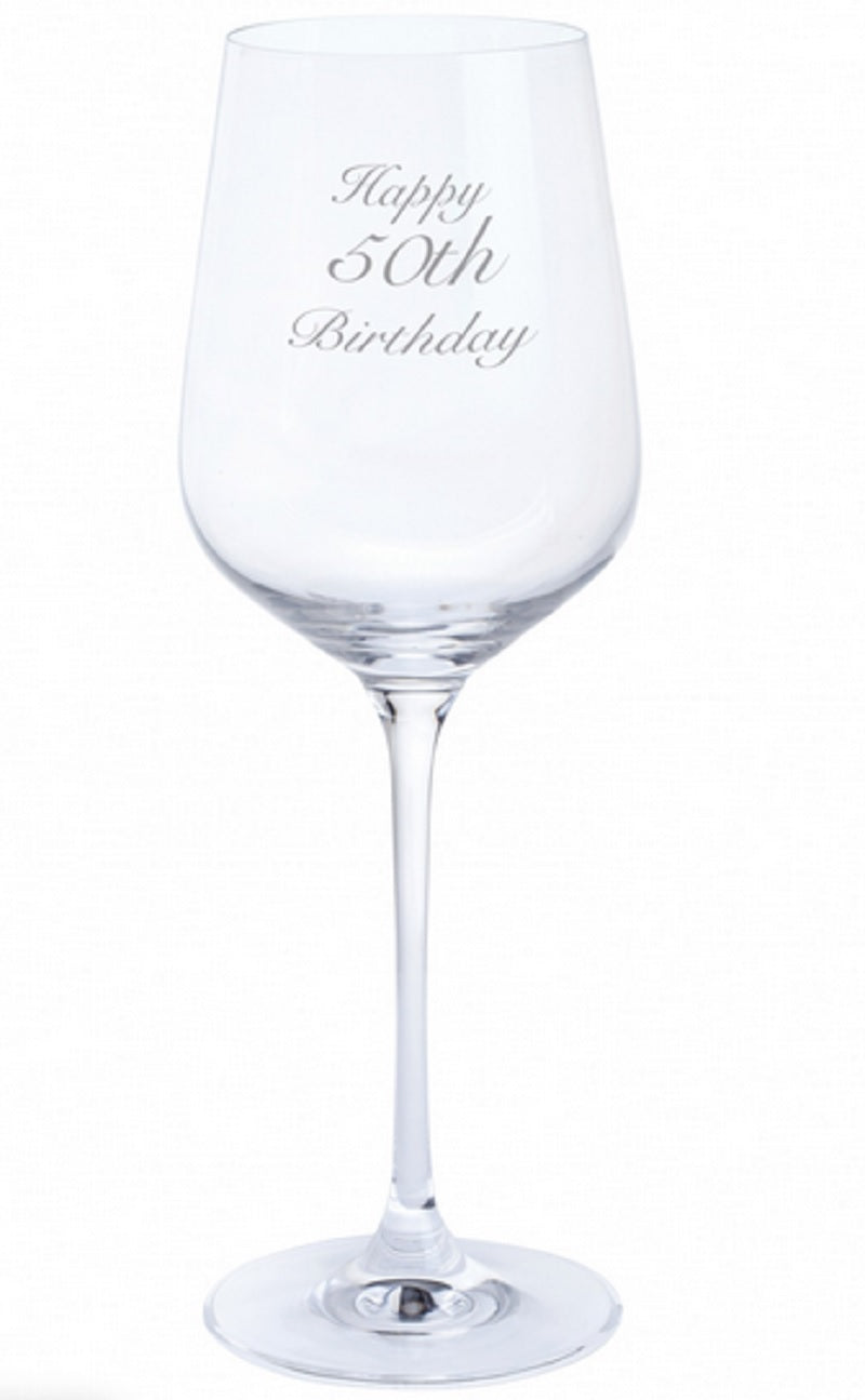 Dartington Crystal Just For You Happy 50th Birthday Engraved Wine Glass