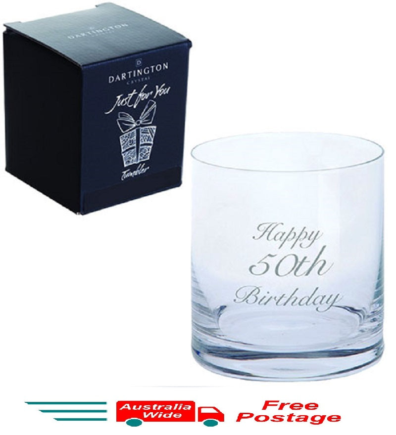 Dartington Crystal Just For You Happy 50th Birthday Engraved Tumbler