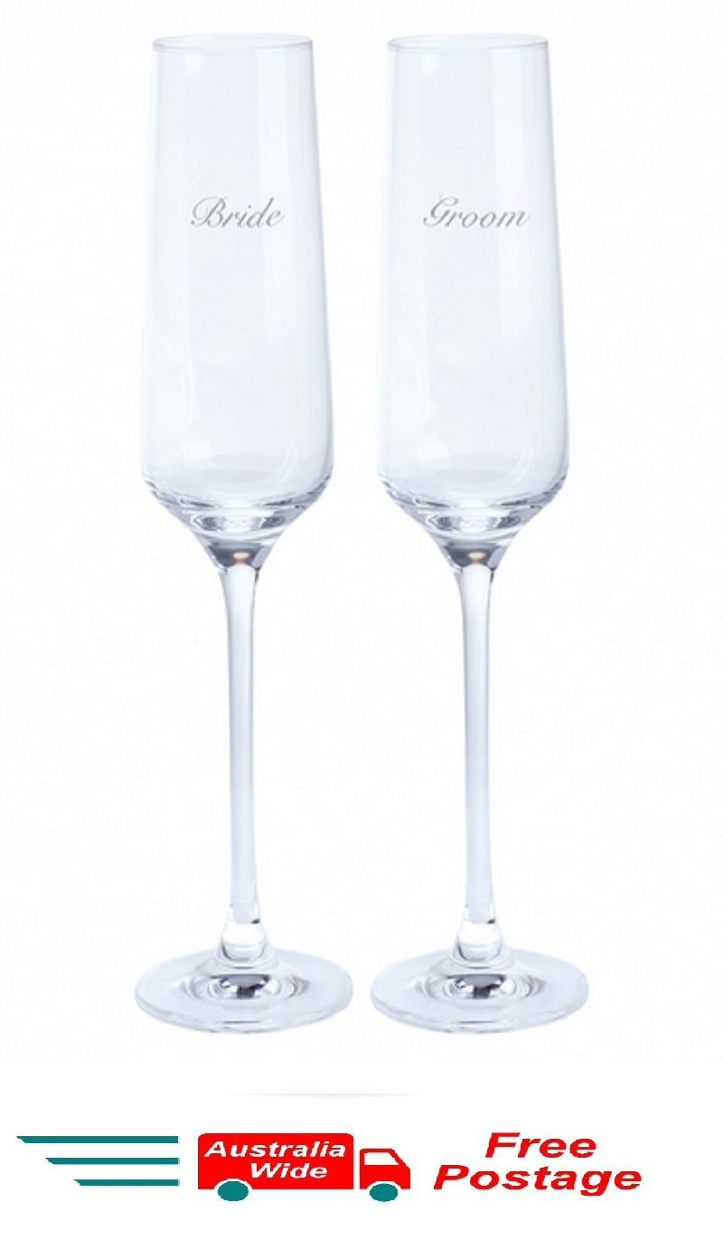 Dartington Crystal Wedding Toasting Champagne Glasses Flutes Bride and Groom