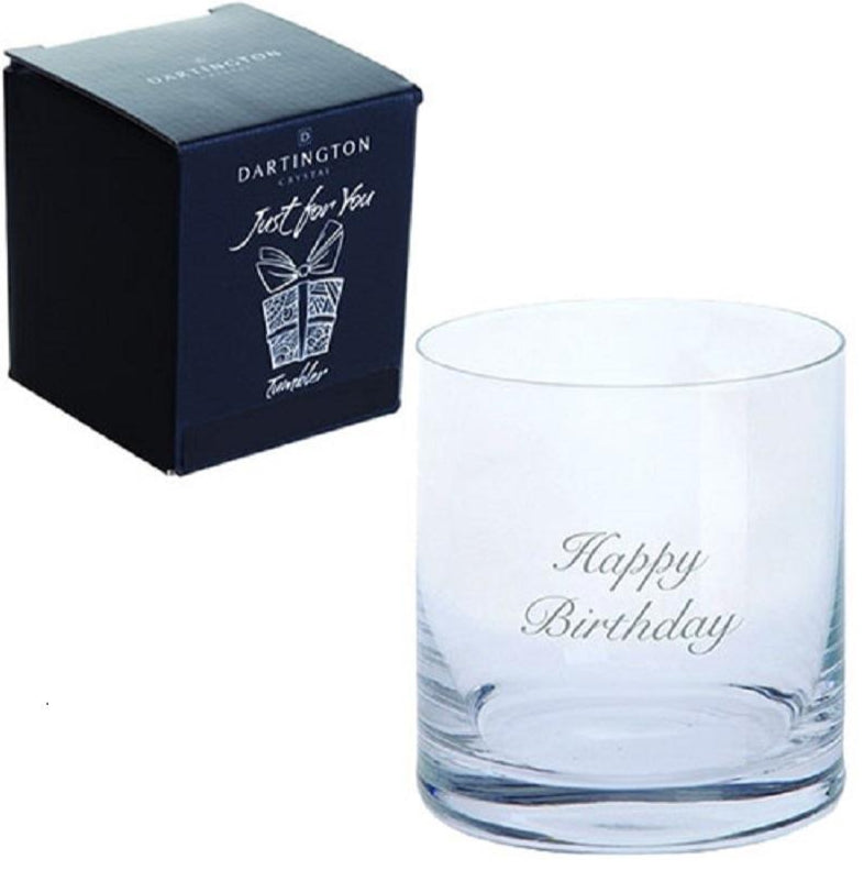 Dartington Crystal Just For You Happy Birthday Engraved Tumbler