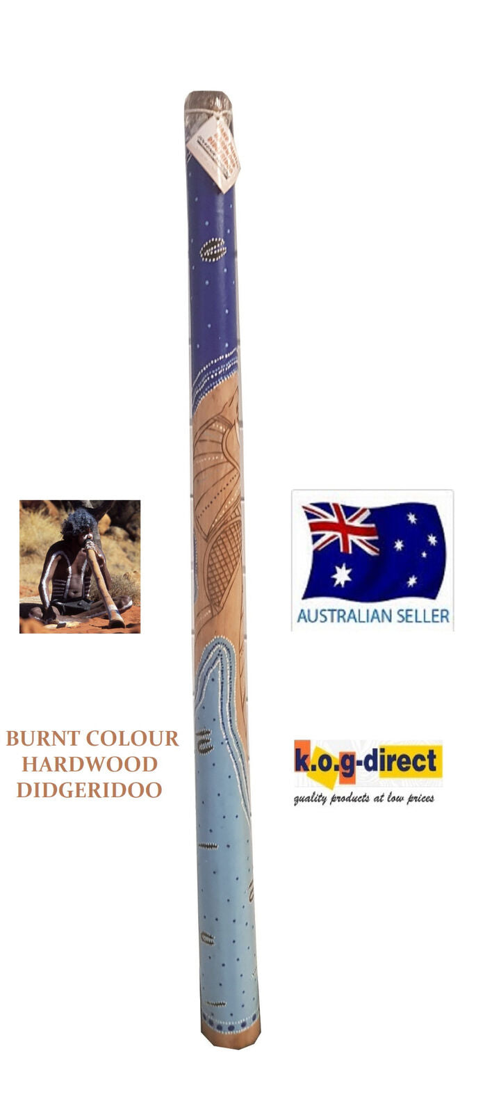 DIDGERIDOO BURNT COLOUR HARDWOOD 130CM ABORIGINAL BEAUTIFULLY HAND PAINTED NEW BL