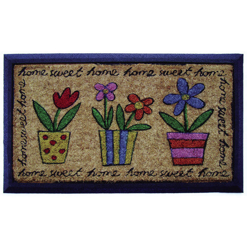 SOLEMATE DOOR MAT FUNKY POTS HOME SWEET HOME NATURAL COIR ON RUBBER OUTDOOR DOOR