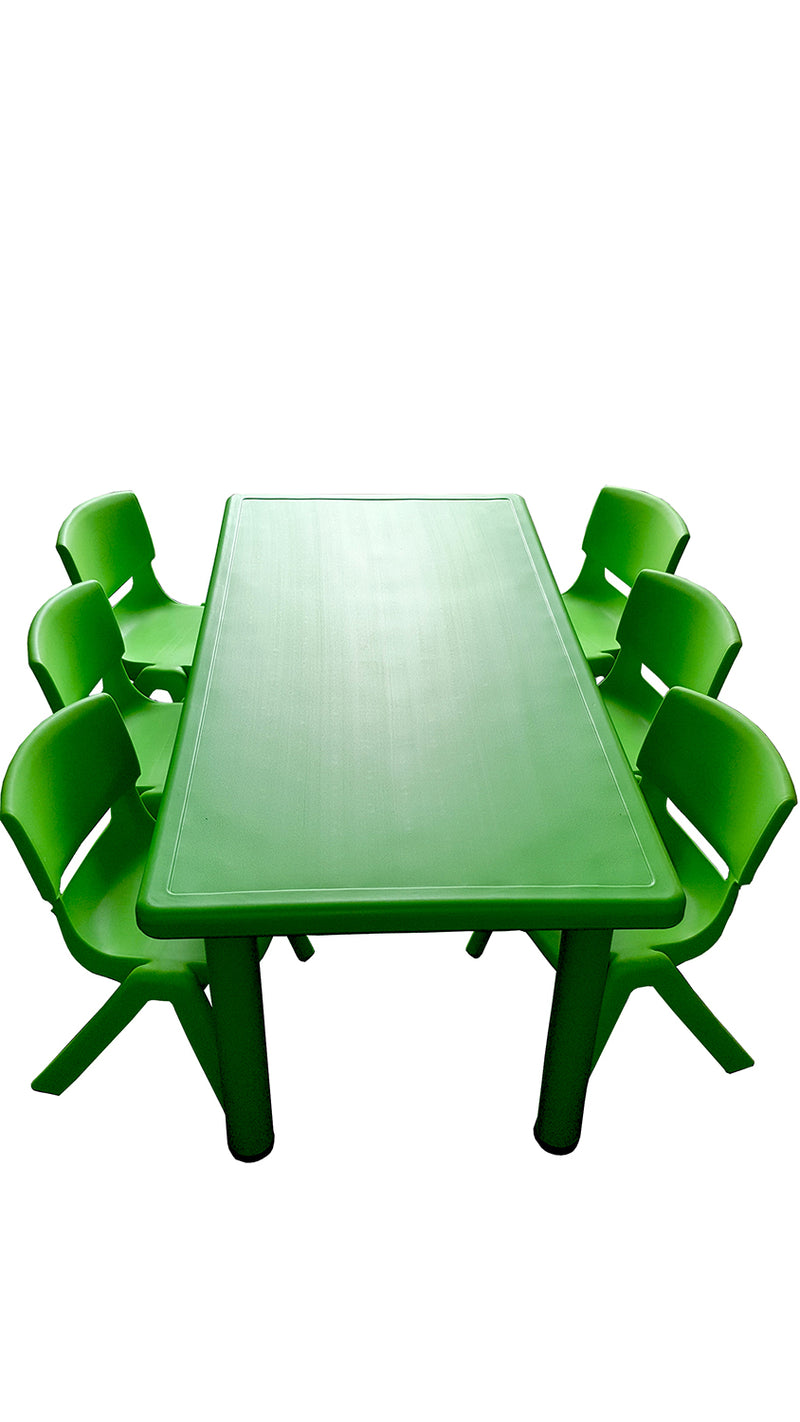 LARGE CHILDREN TODDLER KIDS ADJUSTABLE GREEN TABLE AND 6 GREEN CHAIRS 120cmX60cm