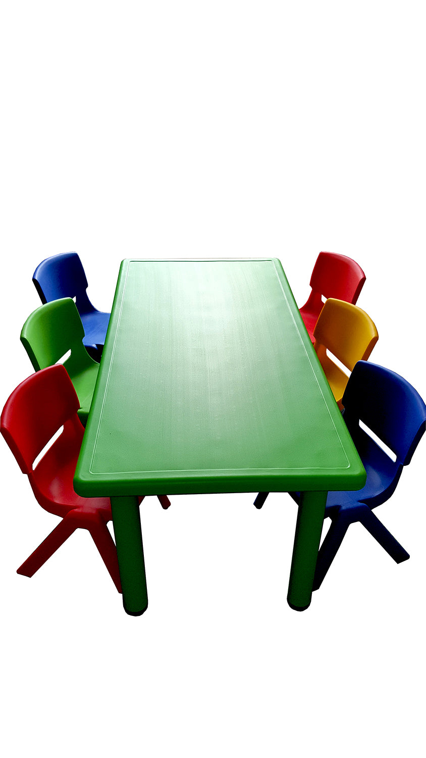 LARGE CHILDREN TODDLER KIDS ADJUSTABLE GREEN TABLE AND 6 COLOURED CHAIRS 120cmX60cm