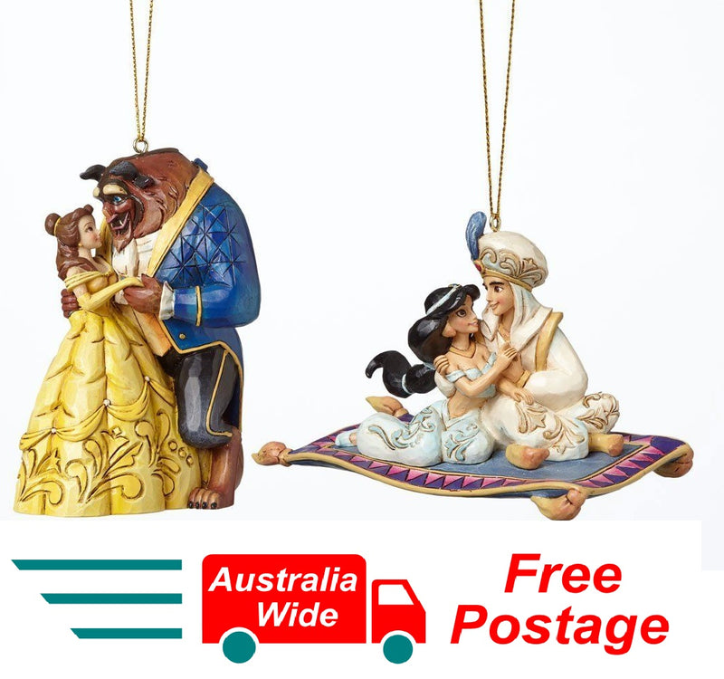 Jim Shore Disney Traditions Jasmine and Belle Aladdin and Beauty And The Beast Hanging Ornament