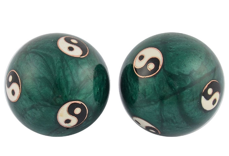 Musical Metal Exercise Meditation Chinese Health Balls Stress Baoding Yin Yang Green