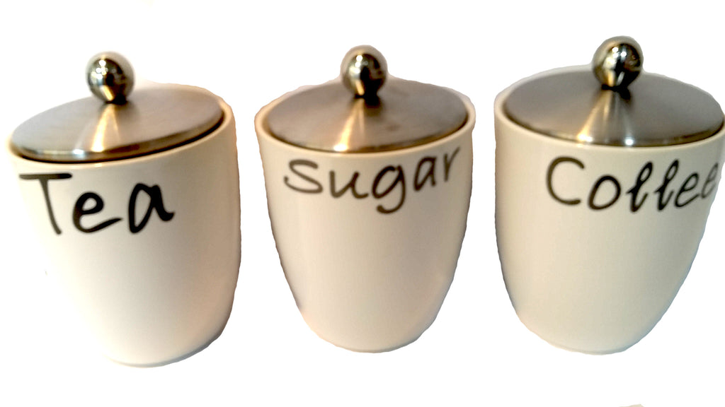 SET OF 3 CANISTER SET TEA COFFEE AND SUGAR WHITE WITH STAINLESS STEEL LID HW-13