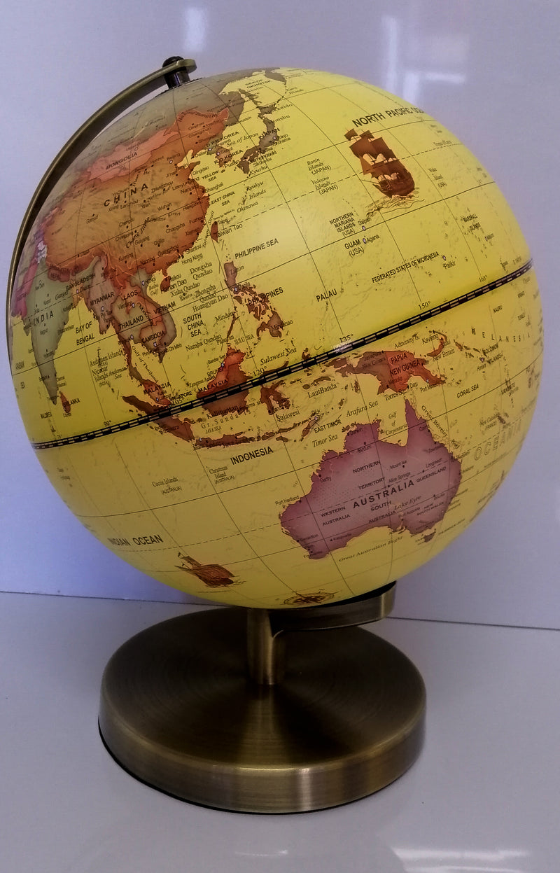LED LIGHT UP VINTAGE HIGH QUALITY YELLOW WORLD GLOBE WITH BRASS BASE HOME 25cm