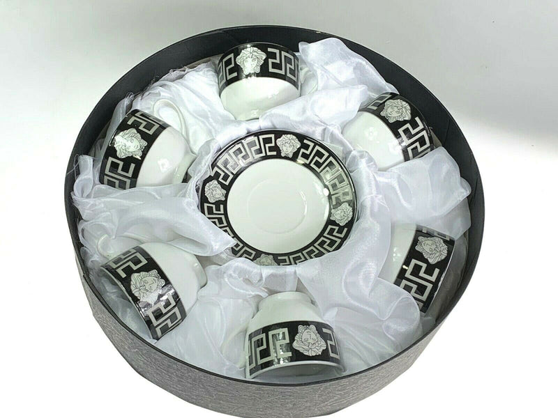 THE HOUSE OF FLORENCE MEDUSA FACE ESPRESSO COFFEE CUPS & SAUCERS SET OF 6 BLACK & SILVER AJ109
