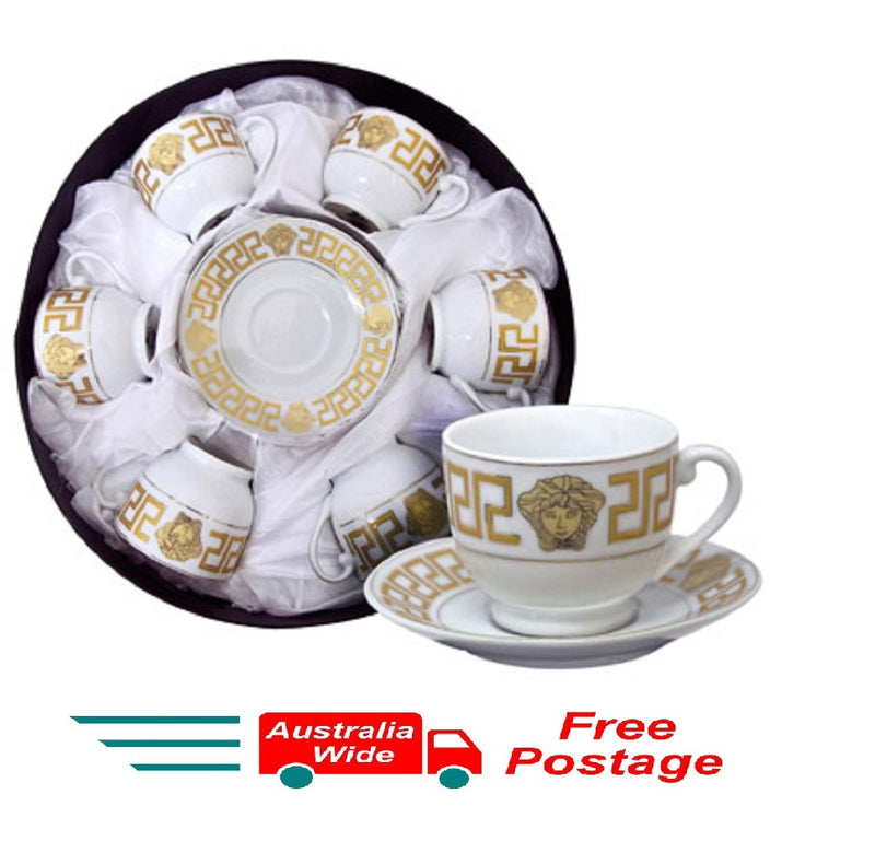 MILANO MEDUSA FACE ESPRESSO COFFEE CUPS & SAUCERS SET OF 6 GOLD RM108