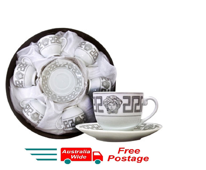 MILANO MEDUSA FACE ESPRESSO COFFEE CUPS & SAUCERS SET OF 6 SILVER RM109