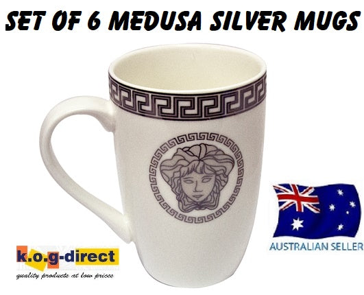 Milano Collection Set Of 6 Medusa Face Printed On Porcelain Mugs White and Silver