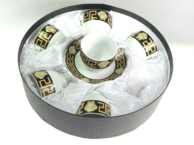 THE HOUSE OF FLORENCE MEDUSA FACE COFFEE TEA CUPS & SAUCER SET OF 6 BLACK & GOLD RM107-3