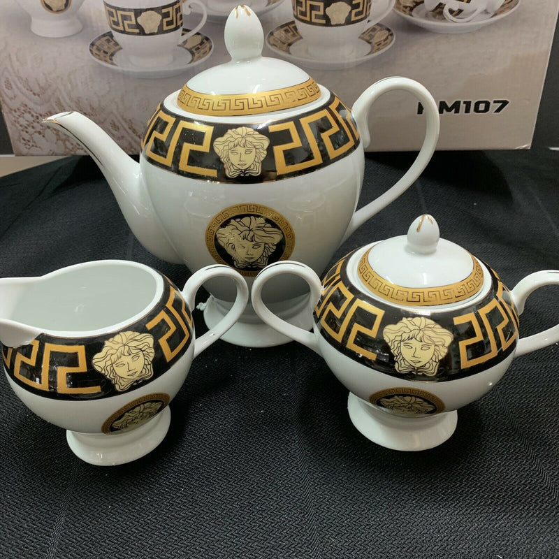 MILANO MEDUSA FACE TEA SET 17 PIECE CUPS TEAPOT SUGAR CREAMER BLACK&GOLD RM107-2