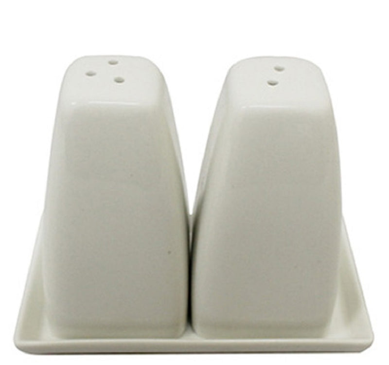 SIMPLY WHITE TRADTIONAL CERAMIC SALT AND PEPPER SHAKERS & TRAY HOME RESTAURANT