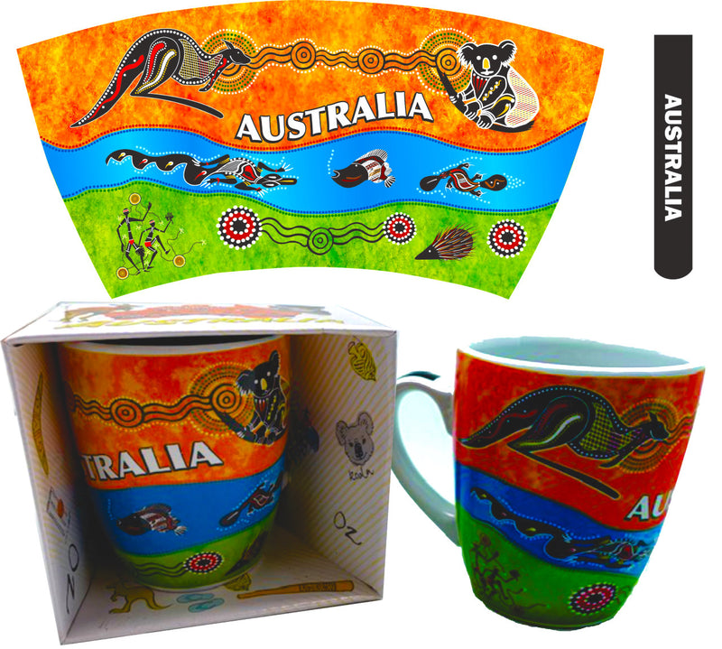 Australian Souvenir Coffee Mug Tea Mug Aboriginal Design Animals 300mlMOA-MUG-01