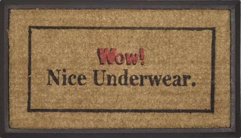 SOLEMATE DOOR MAT WOW NICE UNDERWEAR NATURAL COIR ON RUBBER OUTDOOR DOORMAT