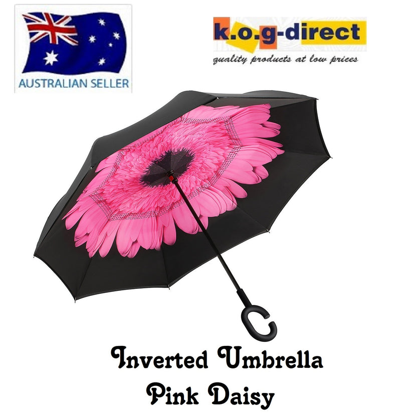 Inverted Umbrella Double Layer Reverse Umbrella Pink Daisey HW - 150