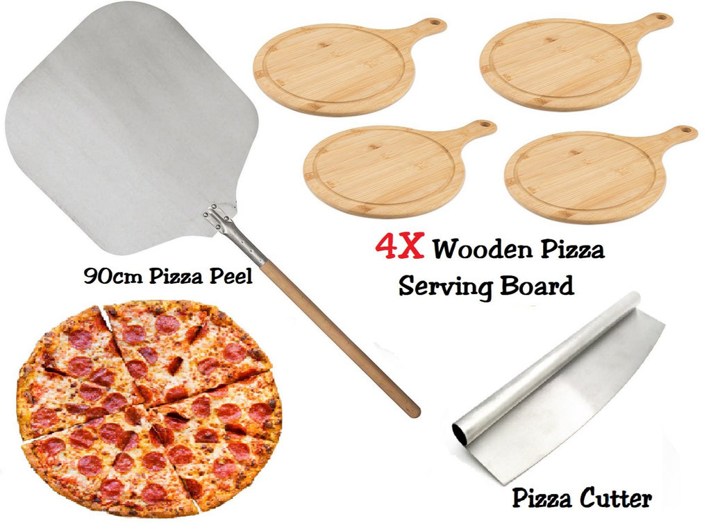 PIZZA SET 90CM PIZZA PEEL 4X ROUND WOODEN SERVING BOARD PIZZA ROCKER CUTTER