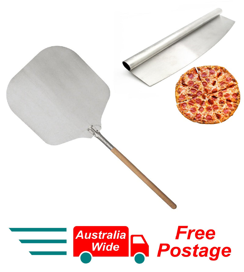 PROFESSIONAL OVEN PIZZA PEEL WITH WOODEN HANDLE 130CM AND PIZZA ROCKER SLICER CUTTER